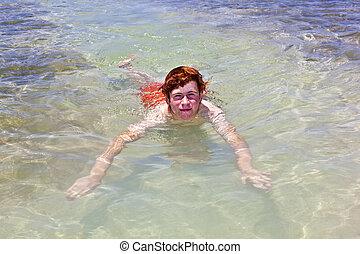 fiú, világos, úszás, óceán