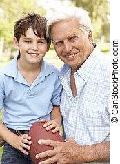 fiúunoka, labdarúgás, együtt, nagyapa, amerikai, játék