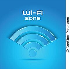 fi, 3d, wi, zona, ícone
