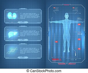 fi, corps, ui, utilisateur, moderne, poumons, foie, hud, infographic, humain, sci, balayage, style., éléments, adn, interface, examen, futuriste, scan., monde médical