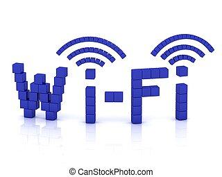 fi de wi, de, cubos, con, antenas
