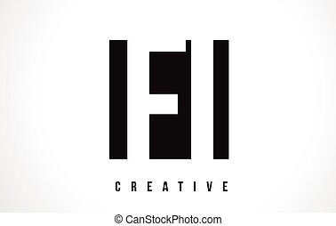 FI F I White Letter Logo Design with Black Square.