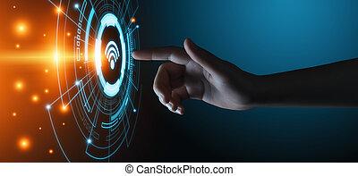 fi, libero, rete, wifi, concept., internet, tecnologia fili...