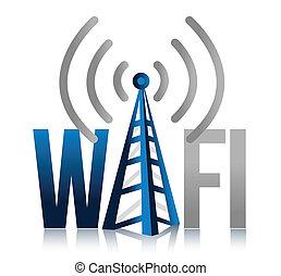 fi, torre, disegno, wi, illustrazione