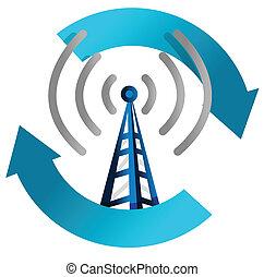 fi, torre, wi, illustrazione, ciclo