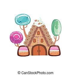 fiaba, casa, con, caramella, albero, fantasia, caramella, terra, dolce, paesaggio, elemento