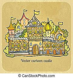 fiaba, vettore, cartone animato, illustrazione, castle.