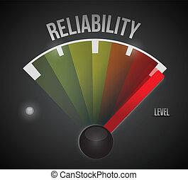 fiabilidade, nível, medida, medidor, de, baixo, para, alto