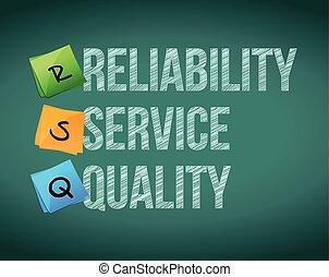 fiabilidade, serviço, e, qualidade