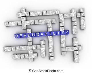 fiabilité, concept, mot, nuage, 3d