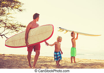 fiak, haladó, atya, szörfözás