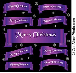 fialový, lesklý, barva, merry christmas, heslo, oblý, lem, standarta, eps10
