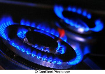 fiamma blu, di, gas.