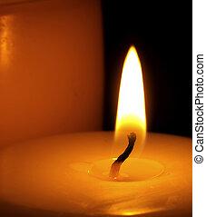 fiamma candela, su, fondo, chiudere