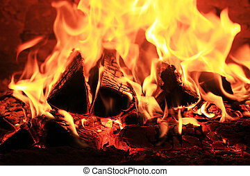 fiamma, legna ardere, caminetto, betulla