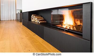 fiamme, caminetto, bianco, minimalista, parete, moderno