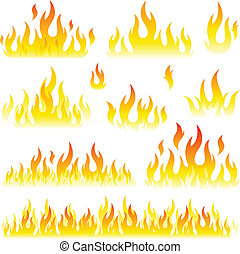 fiamme, collezione, set
