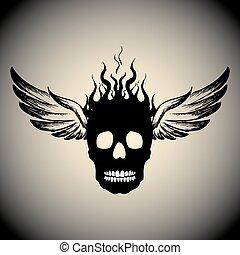 fiamme, cranio, fuoco, ali