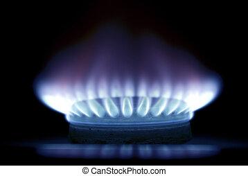 fiamme, di, gas