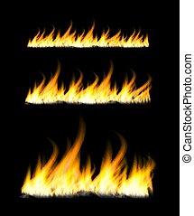 fiamme, fuoco, bonfire., illustrazione, scuro, fondo., vettore, infocato
