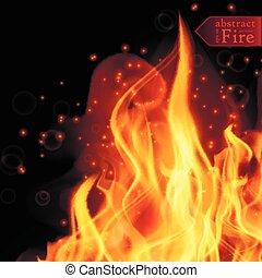 fiamme, fuoco, Estratto, illustrazione, fondo, caldo, vettore