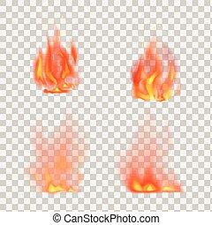 fiamme, fuoco, realistico, vettore, fondo, trasparente