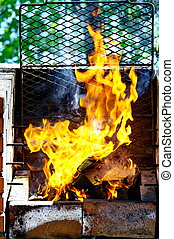 fiamme, griglia, urente, carbone, caldo, barbecue