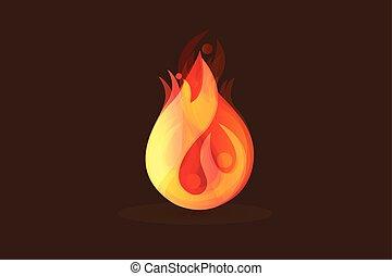 fiamme, persone, fuoco, immagine, vettore, logotipo