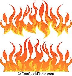 fiamme, vettore, set, fuoco