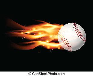 fiammeggiante, baseball, illustrazione