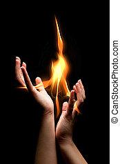 fiammeggiante, mani