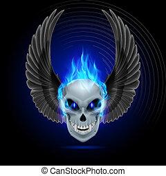 fiammeggiante, mutante, cranio