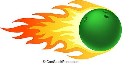 fiammeggiante, palla, bowling