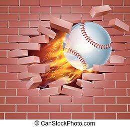 fiammeggiante, parete, rottura, palla, baseball, attraverso, mattone