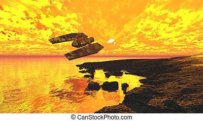 fiammeggiante, tramonto, astronave