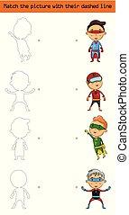fiammifero, il, immagine, (set, di, carattere, superhero, kids)