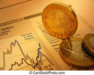 Fianacial chart and coins - Euro coins and financial chart