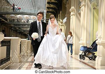 fiancé, mariée, aller, ils, passage