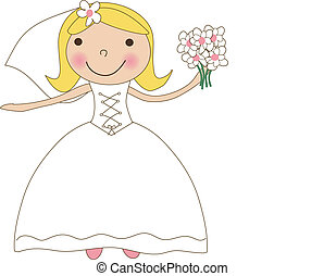 Fiance in the wind. Pretty lady in a flying wedding dress