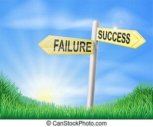 fiasko, begreb, eller, held, tegn