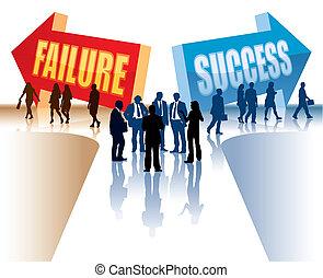 fiasko, eller, held