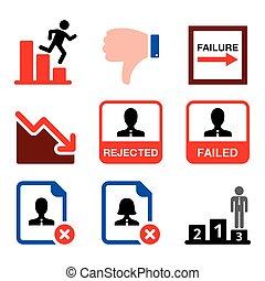 fiasko, konkurs, forkast, sæt, mand, ikoner branche, vektor, mislykkes