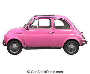 Pink Fiat 500 sixties Italian car isolated over white