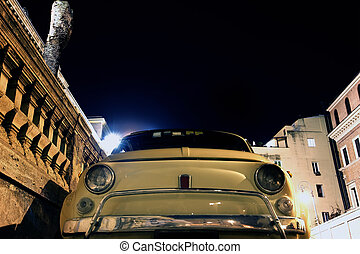 fiat 500 in Rome - vintage car fiat 500 parking in front of...