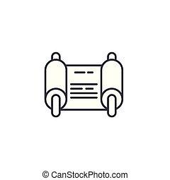fiat, illustration., signe, concept., symbole, vecteur, ligne, icône, linéaire