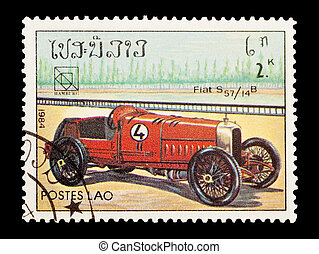 fiat S57 - mail stamp printed in Laos featuring a vintage...