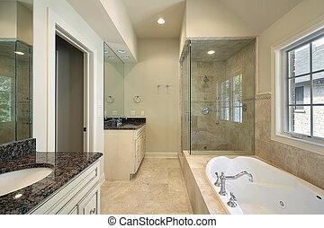 fiatalúr, fürdőkád, alatt, új, szerkesztés, otthon