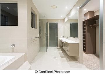 fiatalúr, fürdőszoba, alatt, új, modern, otthon