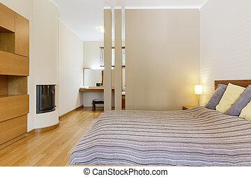 fiatalúr, kandalló, kényelmes, hálószoba