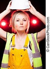fiatal, építészmérnök, nő, szerkesztés munkás, biztonság sisak